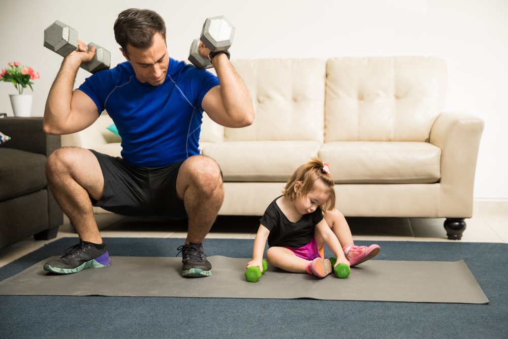 father and daughter workout