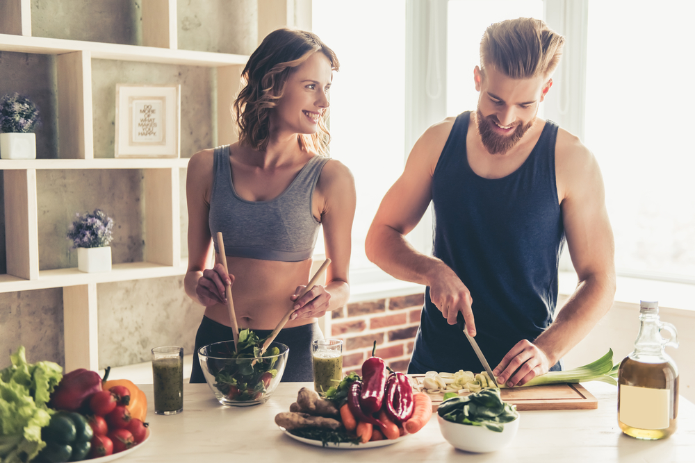 couple prepares healthy meal