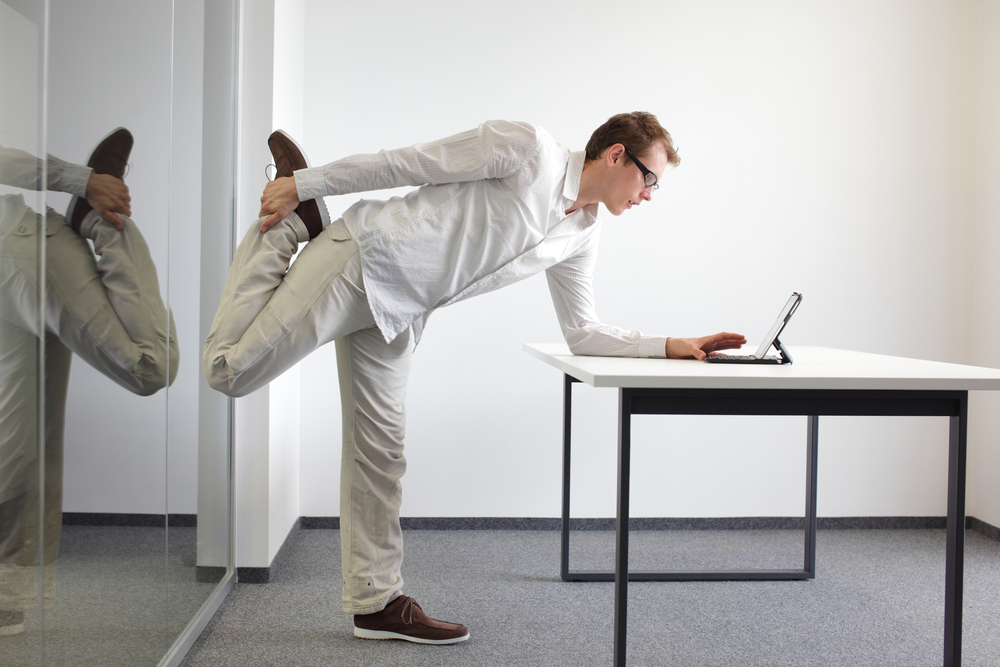 doing stretches in the office