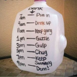 water bottle with schedule to indicate drinking time