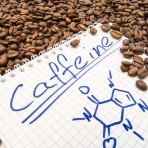 caffeine chemical structure and coffee beans