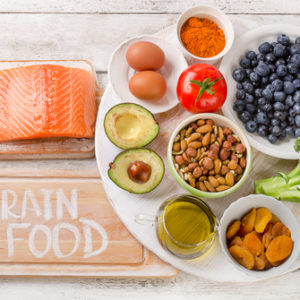 brain food salmon avocado blueberry nuts