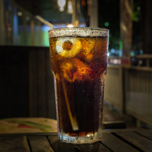 glass of ice cold soda