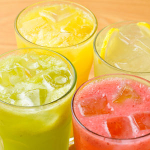 glasses of fruit juices