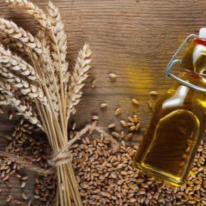 wheat germ and bottle of oil