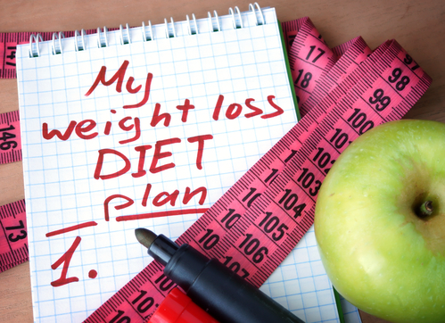 weight loss diet plan on notepad with apple