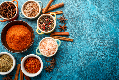 bowls of spices himalayan sea salt saffron anise