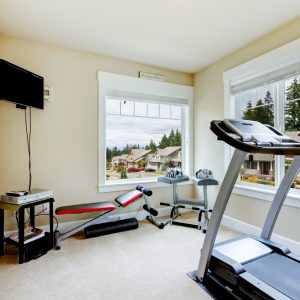 room with home gym equipment